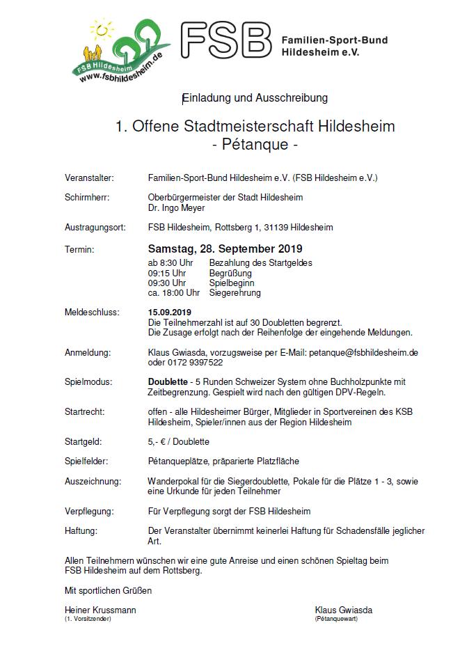 1. Offene Stadtmeisterschaft Hildesheim - Pétanque -
